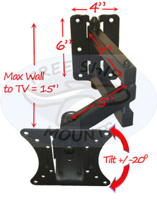 "FULL MOTION MOUNT FOR Monitor SCREEN SIZES 10-24"" (Model IM981S)"