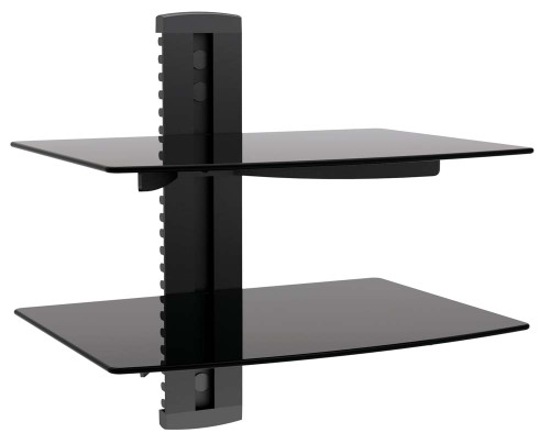 2 TIER DUAL GALSS SHELF WALL MOUNT UNDER TV CABLE BOX COMPONENT DVR DVD BRACKET (DVD-212)