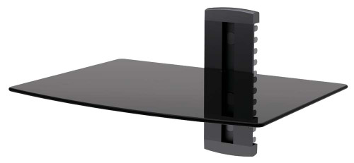 GLASS SHELF WALL MOUNT UNDER TV CABLE BOX COMPONENT DVR DVD BRACKET (DVD-211)