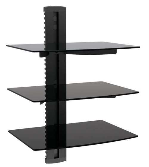 3 TIER GLASS SHELF WALL MOUNT UNDER TV CABLE BOX COMPONENT DVR DVD BRACKET (DVD-213)