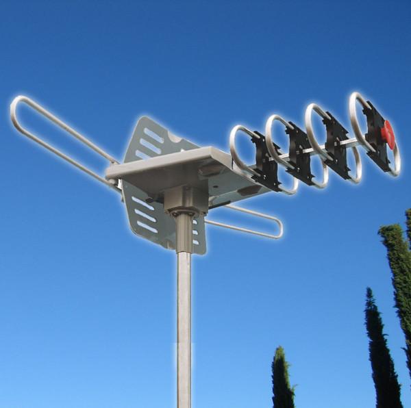OUTDOOR HDTV TV ANTENNA MOTORIZED AMPLIFIED HIGH GAIN 36dB UHF VHF 150MILES