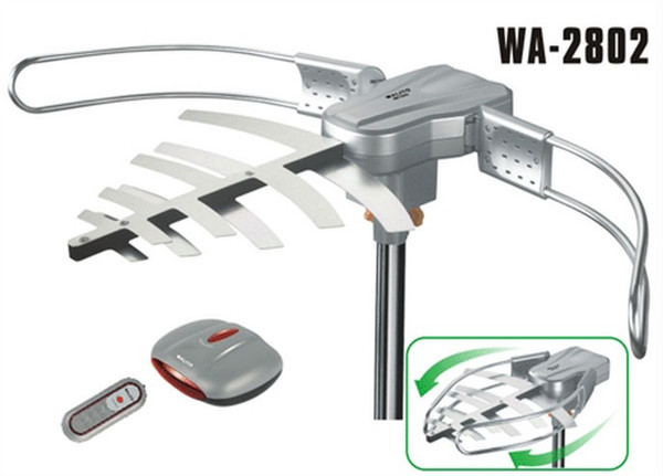 150MILES OUTDOOR TV ANTENNA MOTORIZED AMPLIFIED HDTV HIGH GAIN 36dB UHF VHF QUICK ASSEMBLY