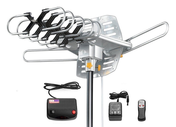 150MILES OUTDOOR TV ANTENNA MOTORIZED AMPLIFIED HDTV HIGH GAIN 36dB  UHF VHF