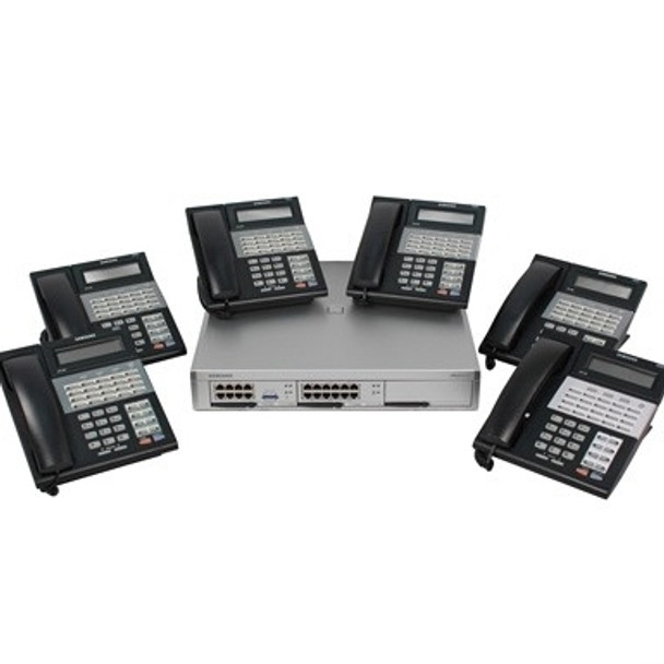 Samsung Officeserv 7100 Small Business System Package, Equipped for 4 Lines with Caller ID, 8 Digital Station Ports, 4 Port Voice Mail  with 6 ea. iDCS 28 Button Phones