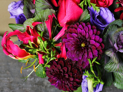 Classic keepsake posie bowl filled with the finest blooms in purples, blues, reds and pinks. Gorgeous.