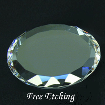 Crystal Gem Cut Round Paperweight