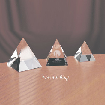 CRYSTAL PYRAMID PAPERWEIGHTS CORPORATE GIFTS