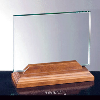 Horizontal Glass with Walnut Base Great Teacher's Award