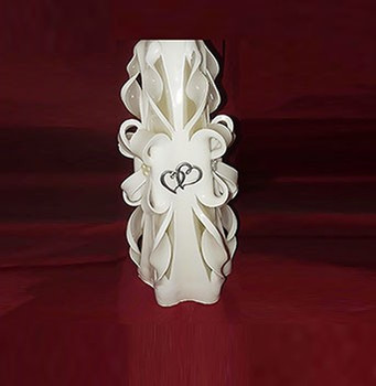 White Unity candle with Double Hearts Hand Carved Candles