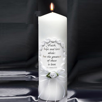 Oval Frame Unity Candle with Verse Religious Candles
