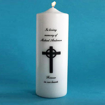 PERSONALIZED UNITY CANDLE WITH CROSS Memorial Candles - Sympathy Gift