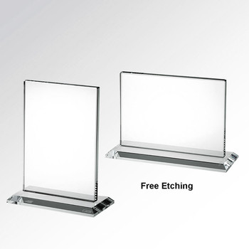 Horizontal or Vertical Rectangle Glass Award Glass Plaques Engraved