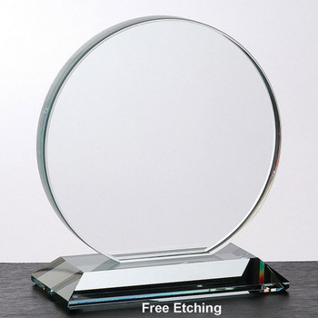 "3/4"" Clear Glass Circle Award  Company Anniversary Awards and Gifts"