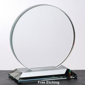 "3/4"" Crystal Clear Glass Circle Award"