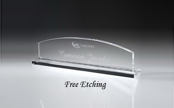 Crystal Name Plate with Base Desk Plaques - Custom Desk Name Plates