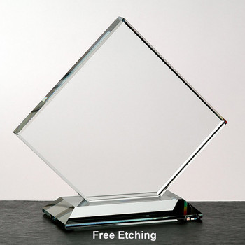 """1/2""""  Crystal Clear Clipped Square Award"""