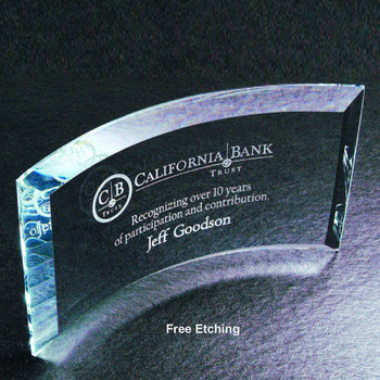 "1/2"" Thick Beveled Crescent Curved Glass  Glass Trophies"