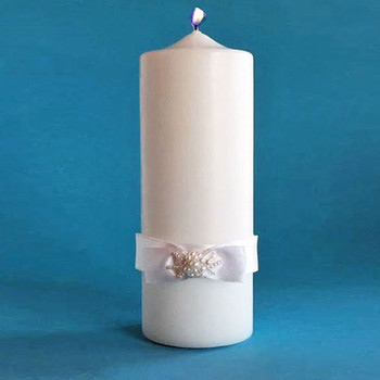 Unity Candle with Satin Bow Wedding Day Candle