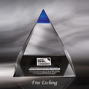 Crystal Blue Majestic Pyramid Solid Crystal Award