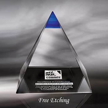 Crystal Blue Majestic Pyramid Solid Crystal Award