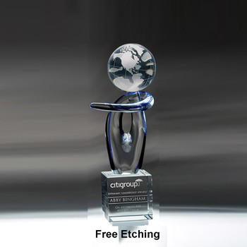 Voyager Award Glass Trophy for Engraving