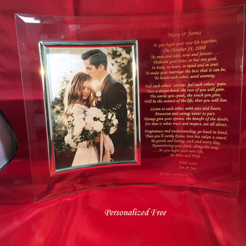 Personalized Wedding Gift for Bride & Groom Example shown is for gift for Mom and Dad