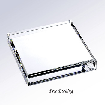 Beveled Square Crystal Paperweight Executive Gifts