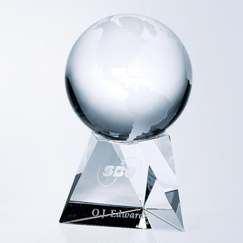 Crystal Globe on Short Base Crystal Awards Custom