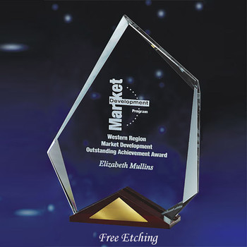 Glass Summit Award with Cherry Wood Base Business Award Trophies