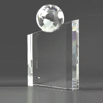 World Globe Crystal  Award  Engraved Crystal Awards