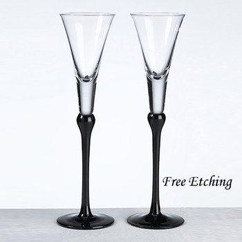 Black Stemmed Toasting Flutes Wedding Gifts