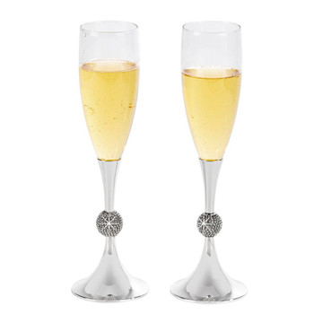 Stemmed Toasting Flutes with crystal Ball on Stem