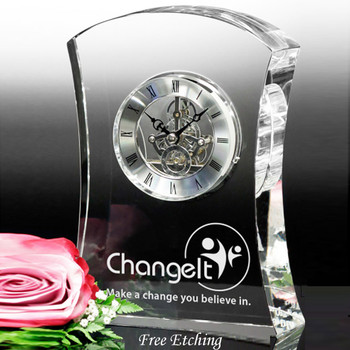 Executive Crystal Clock Anniversary Gifts &  Awards