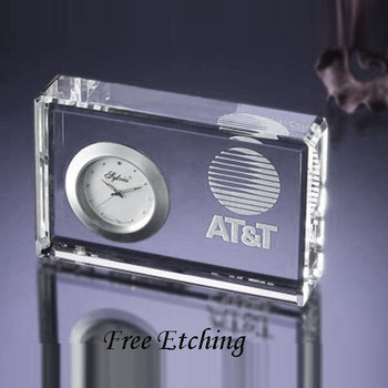 Double Beveled Crystal Desk Clock   Corporate Christmas Gifts.