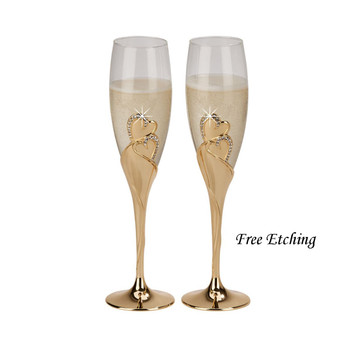 Forever Gold Toasting Flutes Golden Anniversary Gifts