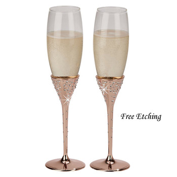 Galaxy Rose Gold Flutes 1st Wedding Anniversary Gift
