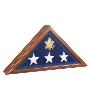 Presidential Flag Case in Walnut Finish Marine Memorial Flag Cases