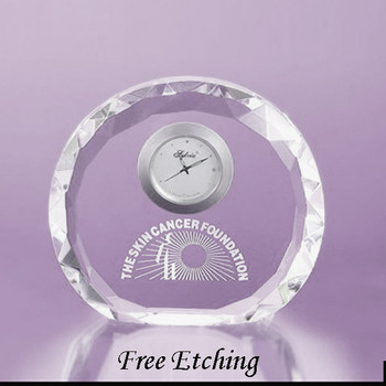 Faceted Round Crystal Desk Clock Corporate Clocks