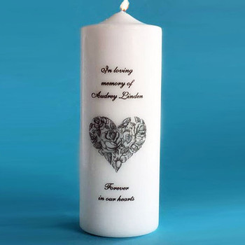 Our Victorian Heart memorial candle features  beautiful original art of a heart with intricate detail. Truly a Keepsake of your Loved One.