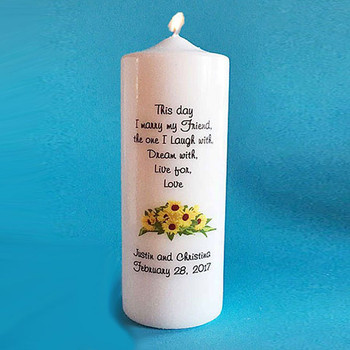 Personalized Sunflower Unity Candle Wedding Candles