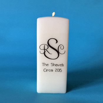 Personalized Square Monogrammed Candle House warming gift