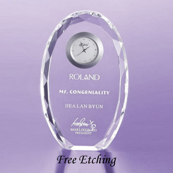 Crystal Faceted Oval Desk Clock Corporate Thank You Gifts.