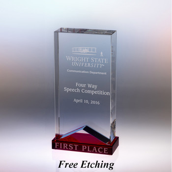 Crystal Ribbon with Red Accent Retirement Awards