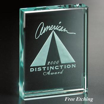 Cambridge Jade Plaque Glass Trophy Engraving