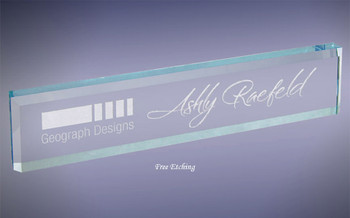 Glass Wedge Name Plate Desk Plate