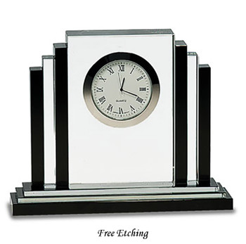 Crystal Clock with Black Trim Retirement Gift
