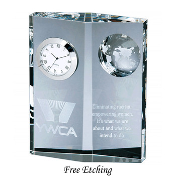 Crystal Globe Desk Clock Corporate Gift