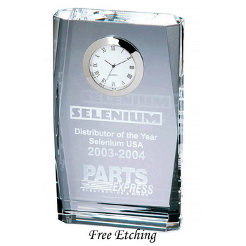 Beveled Plaque Crystal Desk Clock Corporate Christmas Gifts.