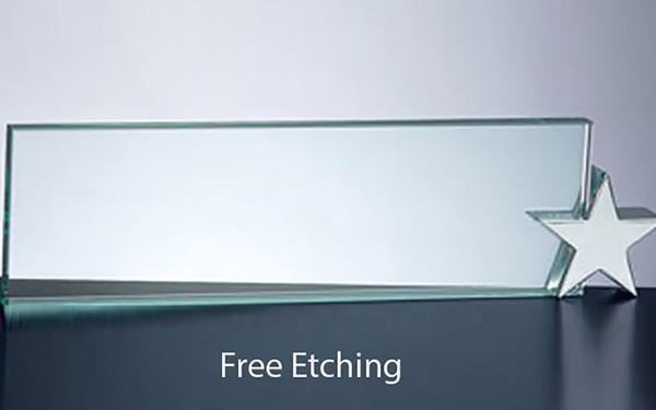Glass NamePlate with Chrome Star Holder