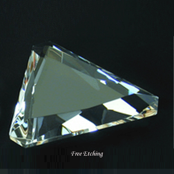 CRYSTAL GEM CUT PAPERWEIGHT - TRIANGLE SHAPE Corporate Gifts